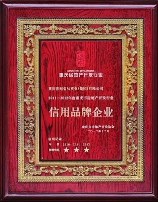 2011—2012年度重庆澳门金莎娱乐网站开发行业信用品牌企业