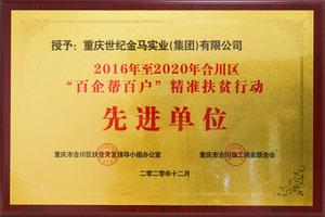 """2016年至2020年合川区""""百企帮百户""""精准扶贫行动先进单位"""